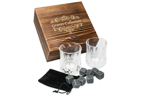 whiskey stones gift set fathers day bourbon gift